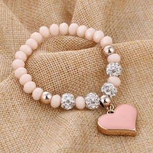 Large pink heart pendant charm bracelet